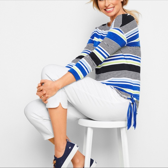 Talbots Tops - Stripe Side-Tie Tee Shirt